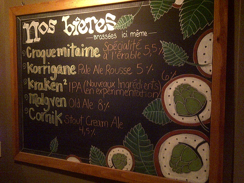 Menu Korrigane Brewpub Québec City